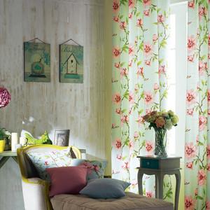 120平米美式大户型客厅飘窗窗帘装修设计效果图