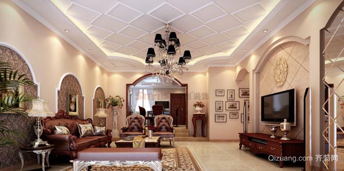120㎡混搭风格客厅吊顶电视背景墙设计装修效果图