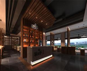 120平米现代火锅店吊顶背景墙吊顶装修效果图