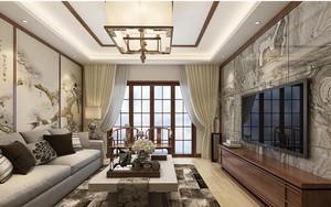 中式客厅电视背景墙装修效果图