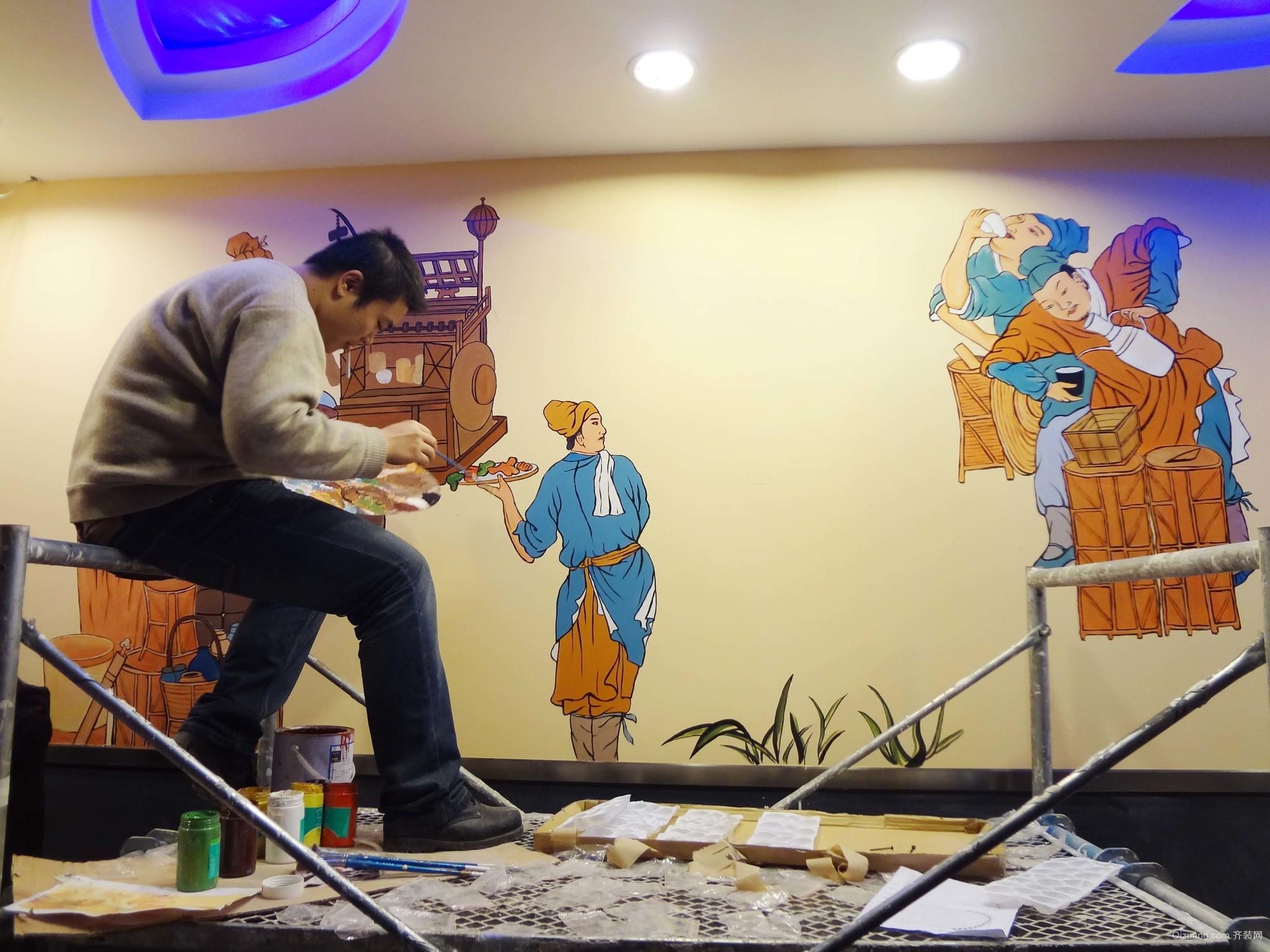 小型饭店装修墙绘效果图