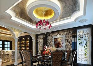大型欧式餐厅背景墙装修效果图