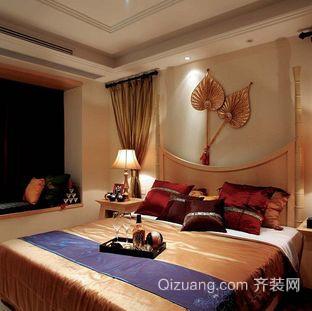 50平米东南亚风格卧室背景墙装修效果图