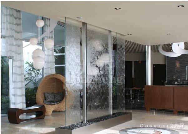 客厅艺术玻璃隔断屏风装修效果图