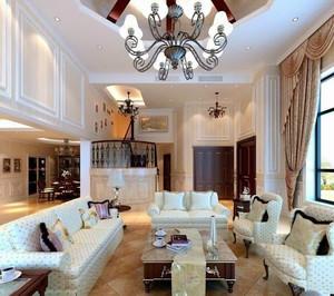 豪华型复式楼欧式创意客厅水晶吊灯装修效果图