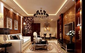 120㎡新古典风格客厅吊顶电视背景墙设计装修效果图