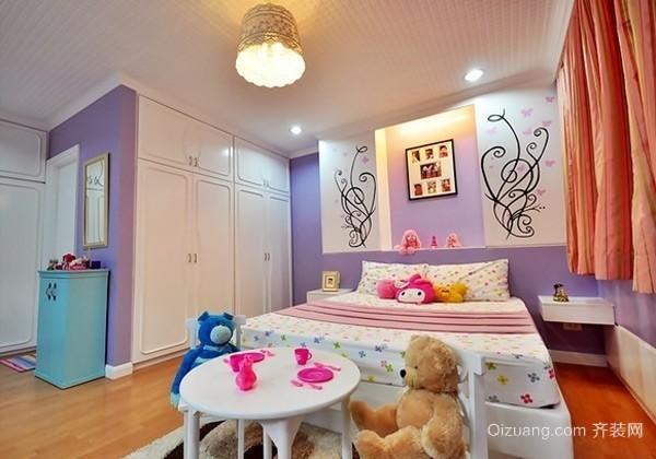 70平米欧式田园风格儿童卧室背景墙装修效果图