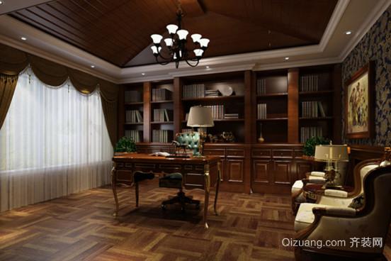 大户型奢华古典风格书房设计装修效果图