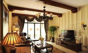 120㎡东南亚风格客厅吊顶电视背景墙设计装修效果图
