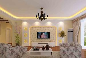 110㎡现代风格客厅吊顶电视背景墙设计装修效果图