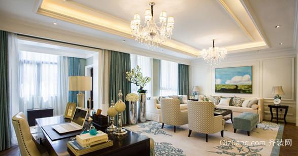 英伦风欧式客厅吊顶电视背景墙装修效果图