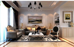 三居室大户型欧式客厅沙发背景墙装修效果图