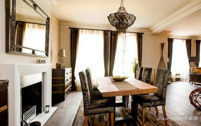 美式装修实木餐桌图片