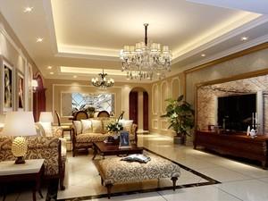 欧式简约别墅客厅装修效果图