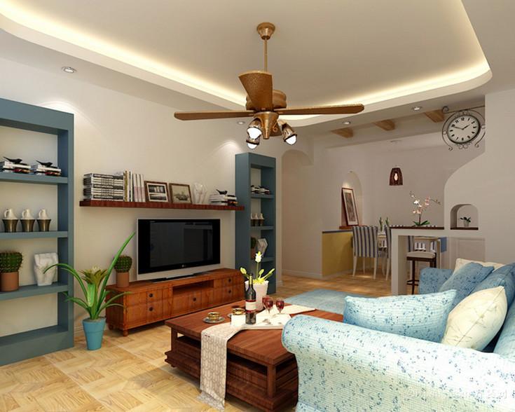 90㎡地中海风格客厅吊顶电视背景墙设计装修效果图