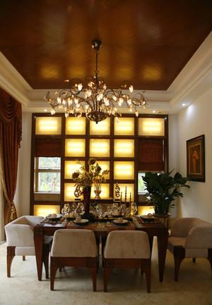 120㎡东南亚风格餐厅吊顶背景墙装修效果图