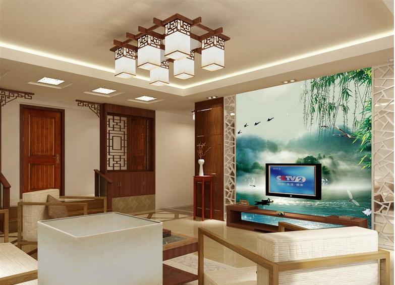 现代农村 小洋楼客厅 电视背景墙装修外观 效果图