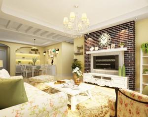 100㎡恬淡田园风格客厅吊顶电视背景墙设计装修效果图