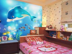 复式楼儿童房卡通壁纸装修效果图