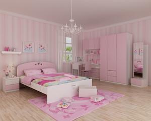 女生单身公寓创意性时尚公主卧室背景墙装修效果图