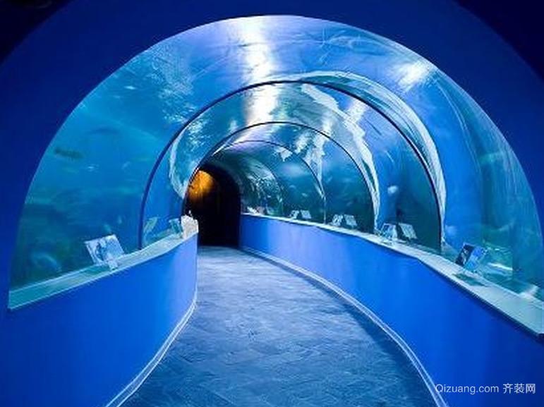 海洋馆室内超大鱼缸造景的装修设计效果图