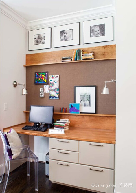 大户型别墅书房台式电脑桌装修效果图