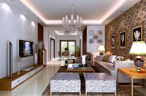 自建别墅韩式创意型客厅吊顶背景墙装修效果图