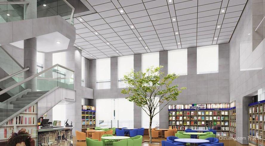 现代简约大型书店装修效果图