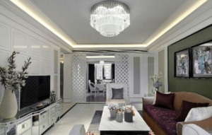欧式客厅吊顶水晶吊灯装修效果图