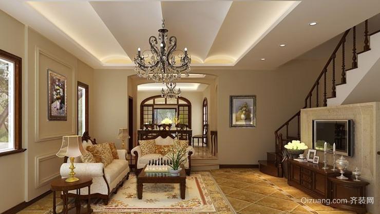 大户型美式客厅吊顶电视背景墙装修效果图