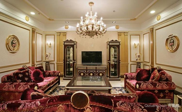 大户型法式客厅吊顶电视背景墙设计装修效果图