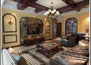 东南亚风格别墅型客厅装修效果图