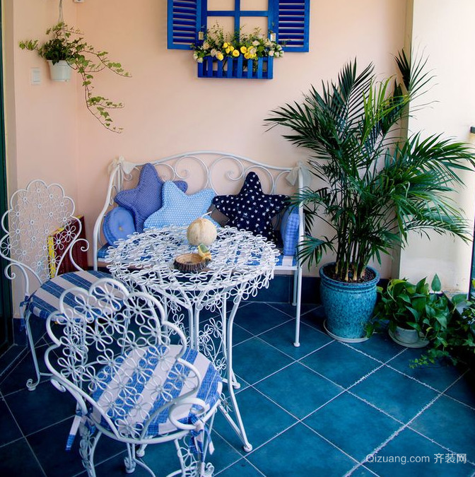 小别墅地中海风格露天阳台装修效果图