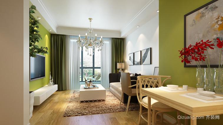 中小户型简约风格客厅吊顶电视背景墙设计装修效果图