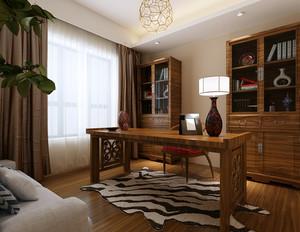 120㎡大户型古典雅致中式书房设计装修效果图