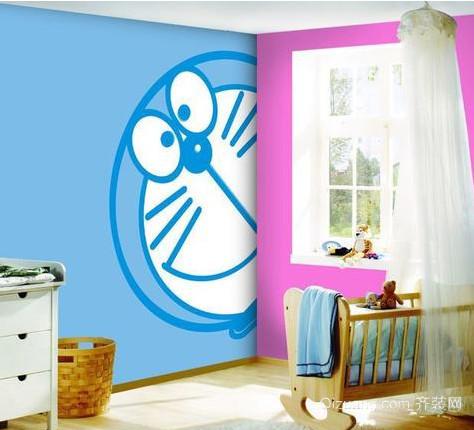 小清新儿童房卡通壁纸装修效果图