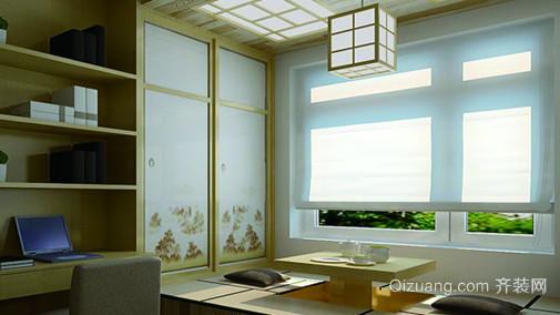 110㎡榻榻米清新雅致日式书房设计装修效果图
