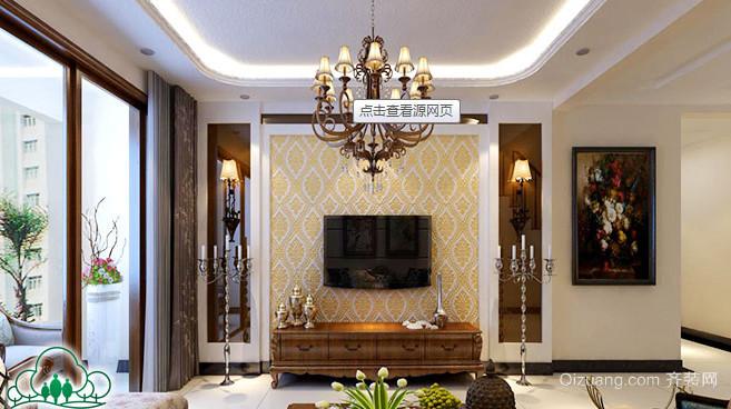 三室两厅两位飘窗唯美硅藻泥背景墙装修效果图