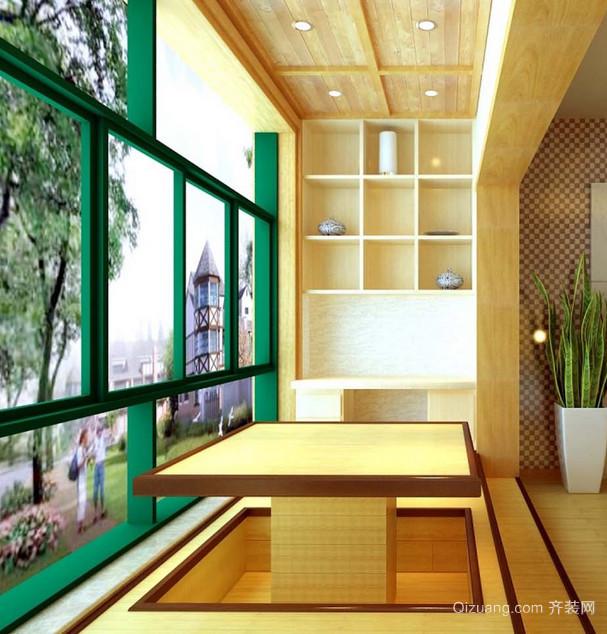 日式风格阳台榻榻米装修效果图