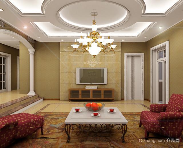 两层小别墅简欧客厅吊顶装修效果图