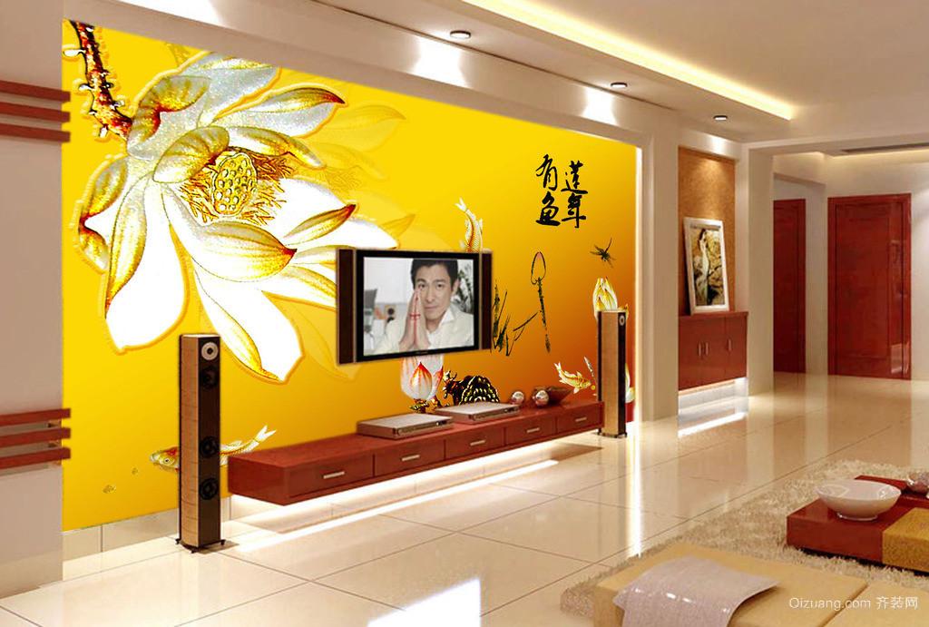 单身公寓欧式客厅电视背景墙装修效果图