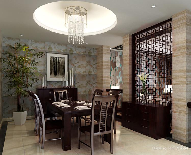 110㎡中式风格餐厅吊顶背景墙装修效果图