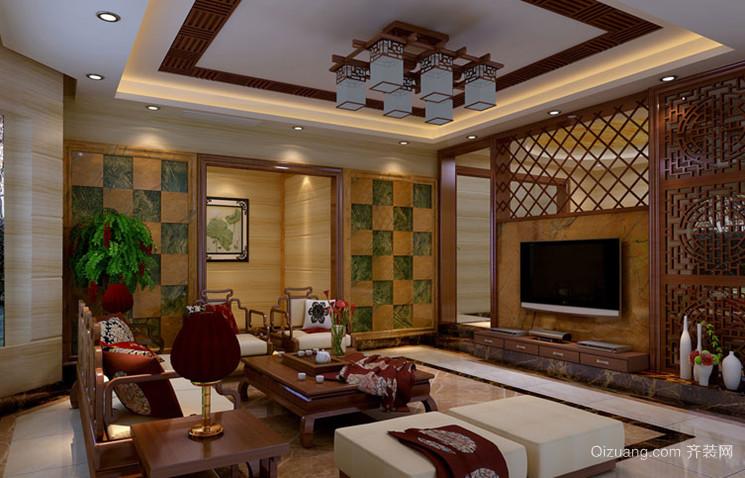 两室一厅中式风格客厅吊顶电视背景墙设计装修效果图