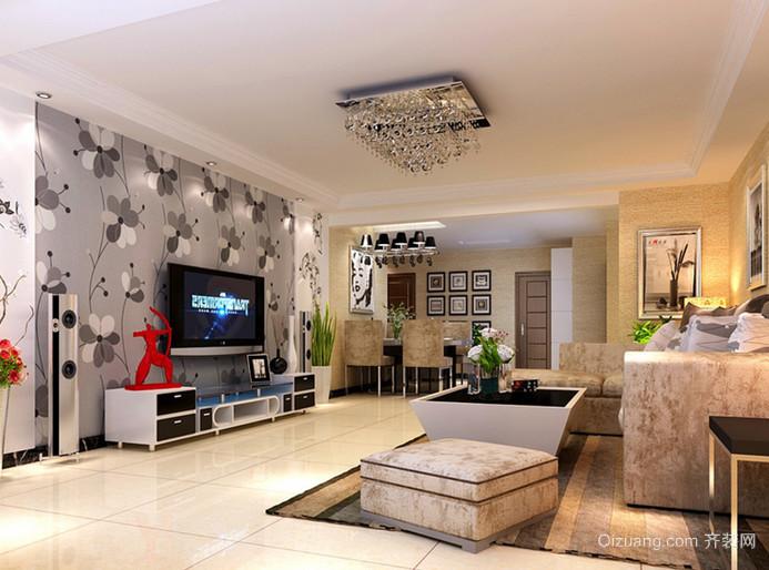 130㎡极致奢华客厅吊顶电视背景墙装修效果图