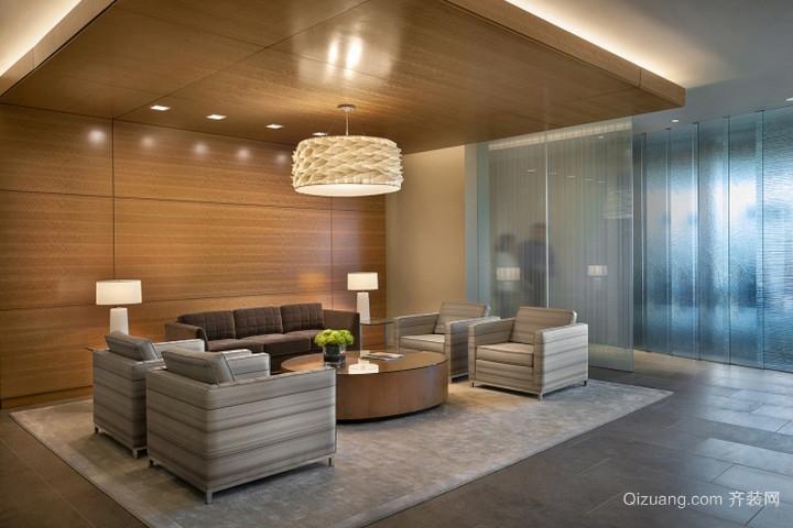 90平米现代办公室吊顶背景墙装修效果图