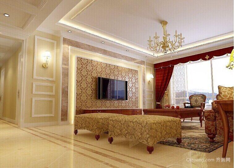 现代大户型欧式客厅石膏线装修设计效果图