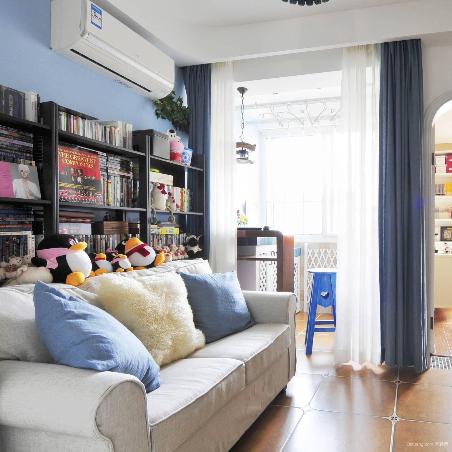 地中海清新风格单身公寓设计装修效果图