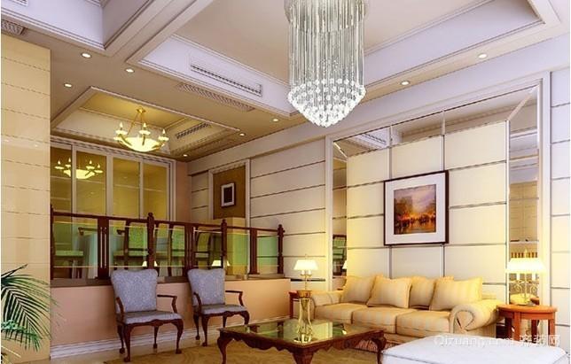 三室二厅错层客厅硅藻泥电视背景墙装修效果图