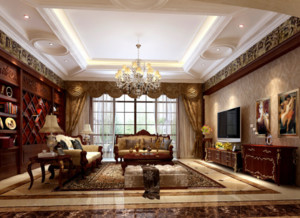 100平米中欧混搭客厅装修效果图