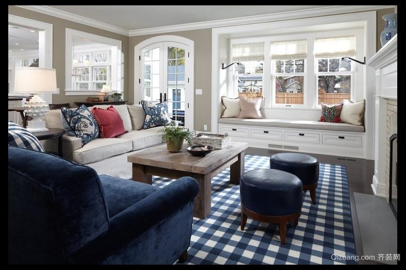 120平米欧式客厅飘窗背景墙装修设计效果图